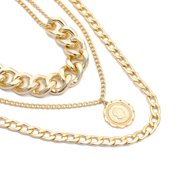 Gold Chunky Coin Layering Necklace - Damnbling