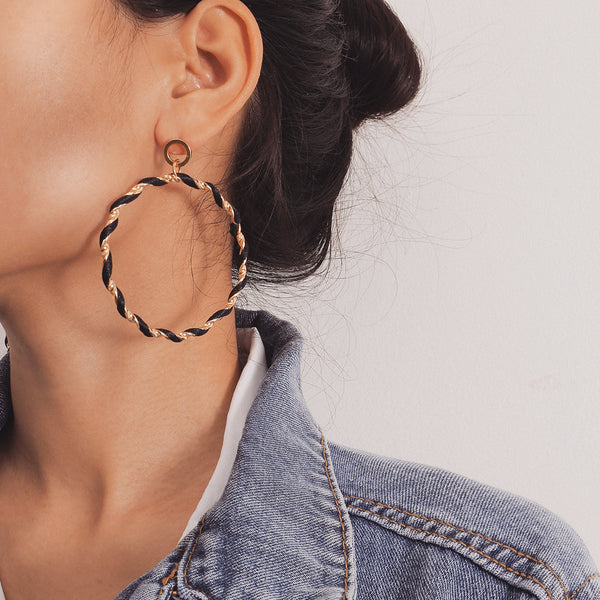Twisted Giant Hoop Earrings - Damnbling