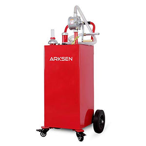 Arksen 35 Gallon Portable Gas Caddy Fuel Storage Tank Large Gasoline Diesel Can Hand Siphon Pump Rolling Flat-Free Solid Rubber Wheels Boat ATV Car Motorcycle