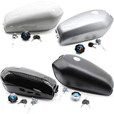 4-Colors Motorcycle Silver Fuel Gas Tank for Honda CG125 Cafe Racer 2.4Gallon 9L[Gloss Black] (Gloss black)