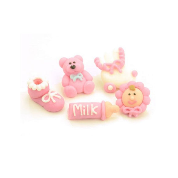 Zuckerdekoration, Zuckerfiguren Baby rosa, 5er Set - Kuchenwunder-Shop