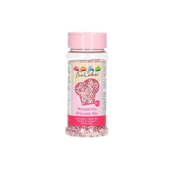 FunCakes Mini Zuckerperlen, Nonpareils Prinzessinen-Mix 80 g