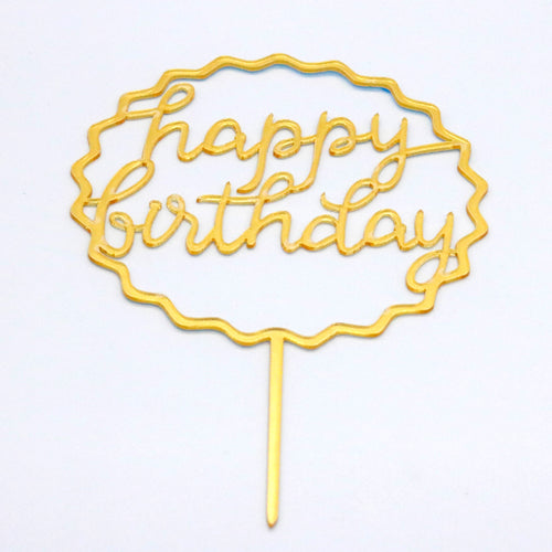 Caketopper HAPPY BIRTHDAY Gold/Zackenrand - Kuchenwunder-Shop
