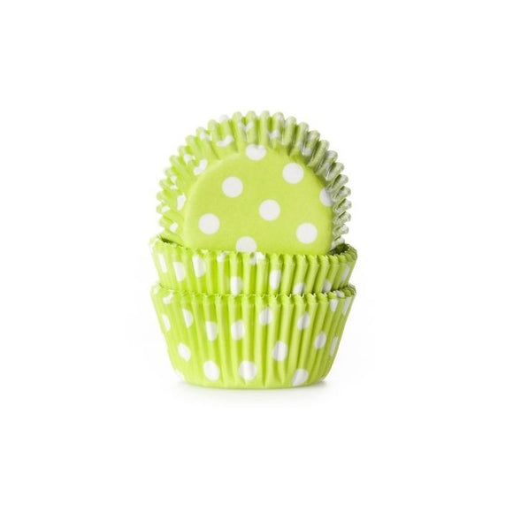 MINI-Cupcakeform, Baking cups Polkadot LIME GREEN, 60 Stück - Kuchenwunder-Shop