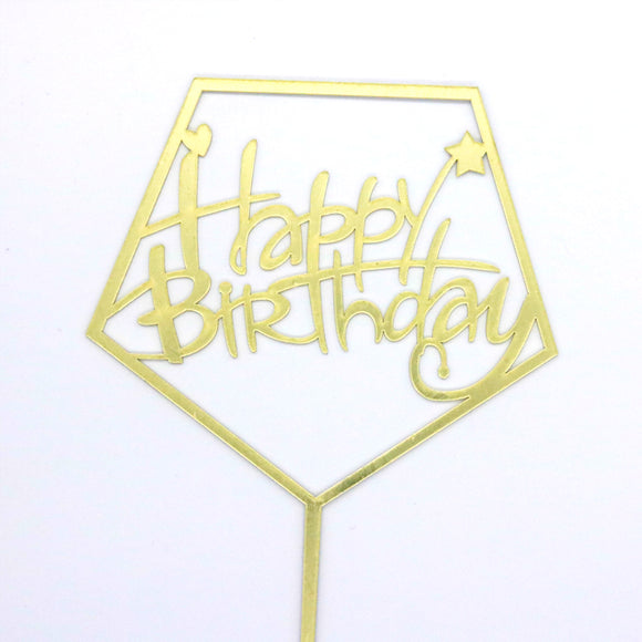 Caketopper HAPPY BIRTHDAY Hexagon/gold - Kuchenwunder-Shop