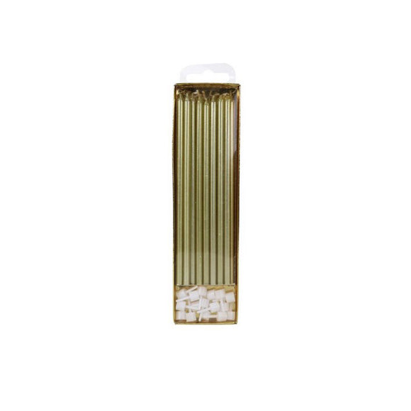 Extra Tall Candles Gold 18cm pk/16 - Kuchenwunder-Shop