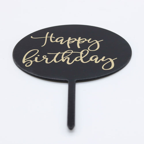 Caketopper Schild Happy Birthday schwarz - Kuchenwunder-Shop