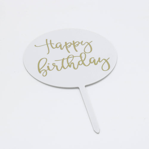 Caketopper Schild Happy Birthday weiß - Kuchenwunder-Shop
