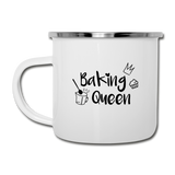 Baking Queen - Emaille-Tasse - Weiß