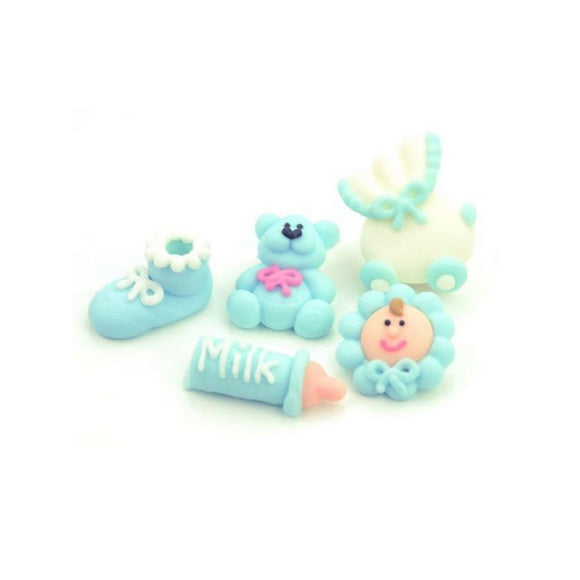 Zuckerdekoration, Zuckerfiguren Baby blau, 5er Set - Kuchenwunder-Shop
