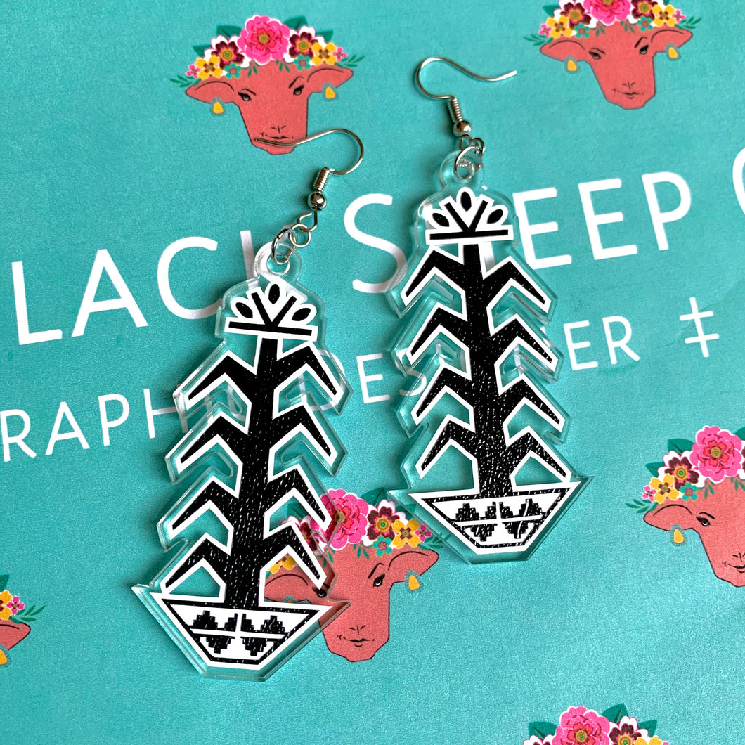 Black Tree of Life Earrings