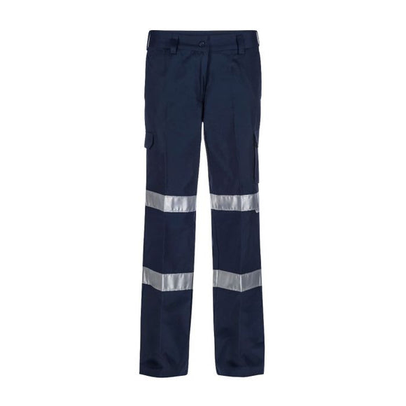 WORKCRAFT LADIES CARGO DRILL TROUSER CSR REFLECTIVE TAPE - NAVY