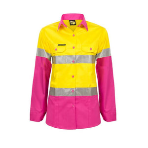 WORKCRAFT LADIES LIGHTWEIGHT HI VIS TWO TONE LONG SLEEVE SHIRT REFLECTIVE TAPE - PINK/YELLOW