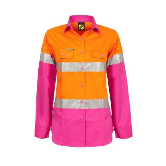 WORKCRAFT LADIES LIGHTWEIGHT HI VIS TWO TONE LONG SLEEVE SHIRT REFLECTIVE TAPE - PINK/ORANGE