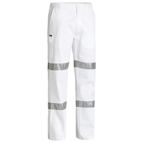 BISLEY 3M TAPED COTTON DRILL WHITE WORK PANT WHITE