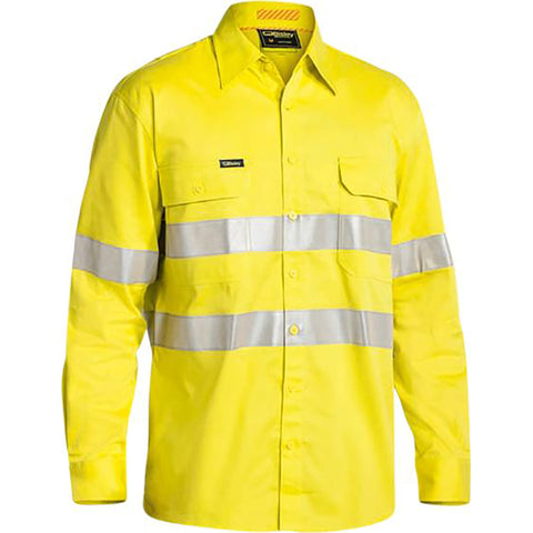 BISLEY 3M TAPED HI VIS INDUSTRIAL COOL VENT SHIRT YELLOW