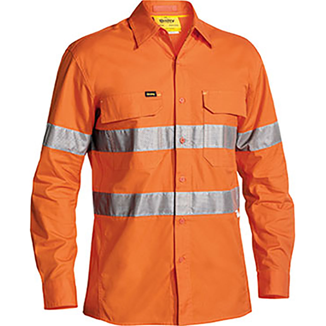 BISLEY 3M TAPED HI VIS X AIRFLOW RIPSTOP LS SHIRT ORANGE