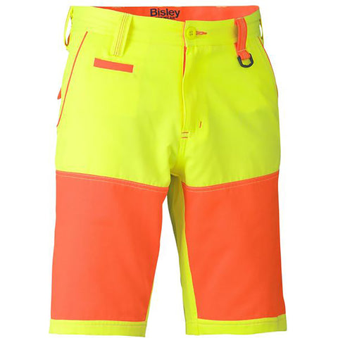 BISLEY DOUBLE HI VIS SHORTS YELLOW/ORANGE