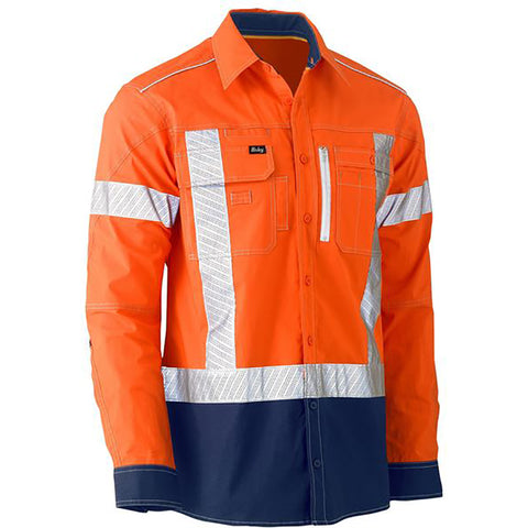 BISLEY FLEX & MOVE TWO TONE HI VIS STRETCH UTILITY LS SHIRT ORANGE/NAVY