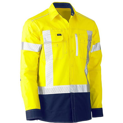 BISLEY FLEX & MOVE TWO TONE HI VIS STRETCH UTILITY LS SHIRT YELLOW/NAVY