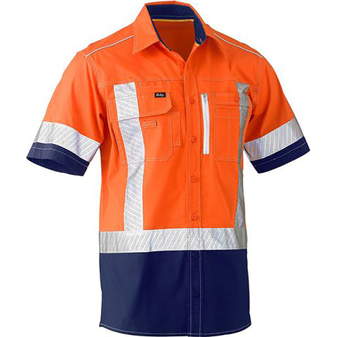BISLEY FLEX & MOVE TWO TONE HI VIS STRETCH UTILITY SS SHIRT ORANGE/NAVY