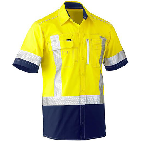 BISLEY FLEX & MOVE TWO TONE HI VIS STRETCH UTILITY SS SHIRT YELLOW/NAVY