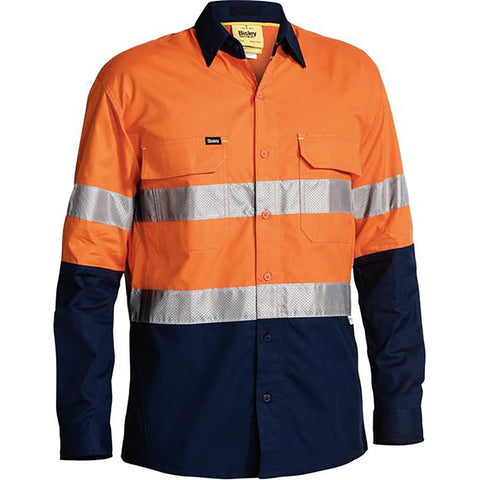 BISLEY HI VIS X AIRFLOW RIPSTOP SHIRT ORANGE/NAVY