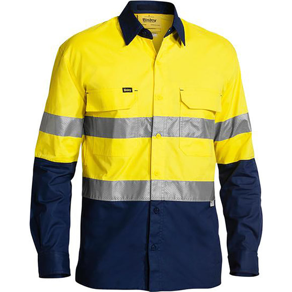 BISLEY 3M TAPED HI VIS X AIRFLOW RIPSTOP SHIRT YELLOW/NAVY