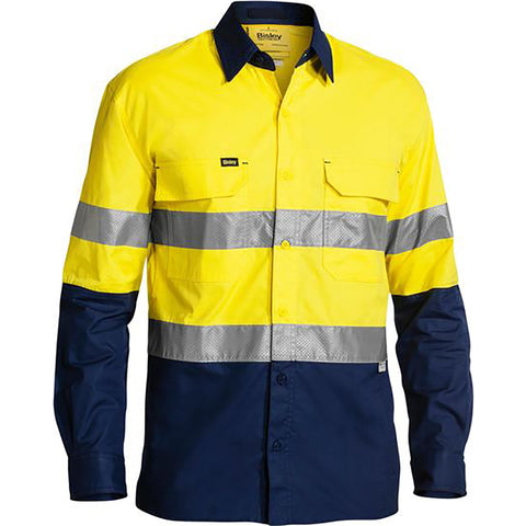 BISLEY HI VIS X AIRFLOW RIPSTOP SHIRT YELLOW/NAVY