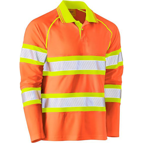 BISLEY TAPE DOUBLE HI VIS MESH LS POLO SHIRT ORANGE/YELLOW