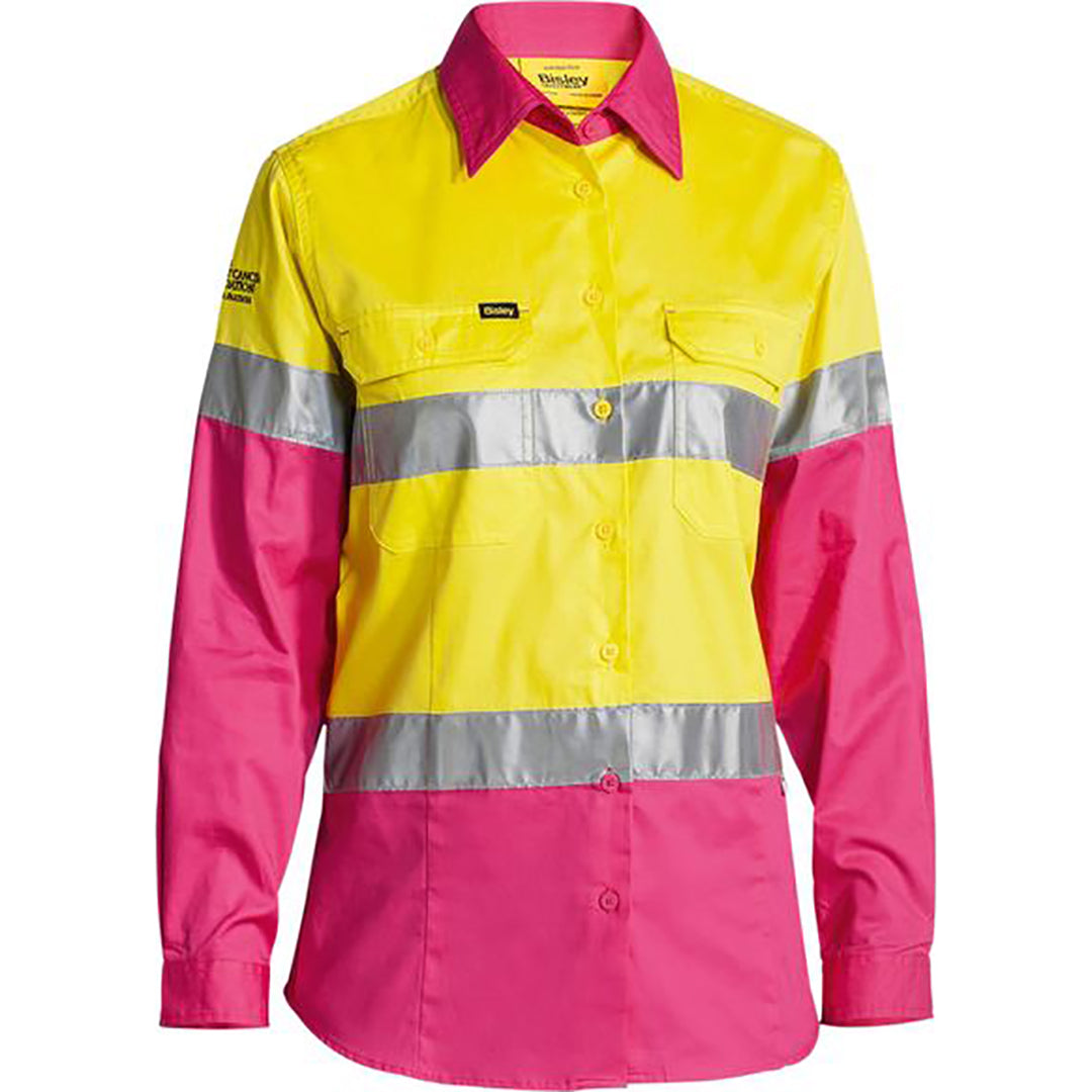 BISLEY WOMENS 3M TAPED HI VIS COOL LIGHTWEIGHT SHIRT YELLOW/PINK