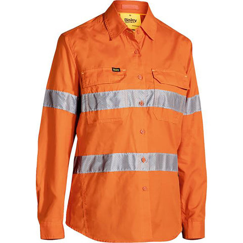 BISLEY WOMENS 3M TAPED HI VIS X AIRFLOW RIPSTOP SHIRT ORANGE