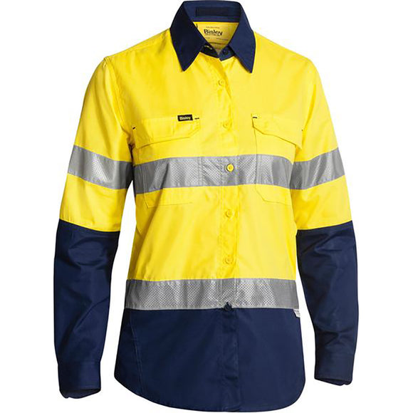 BISLEY WOMENS 3M TAPED HI VIS X AIRFLOW RIPSTOP SHIRT YELLOW/NAVY