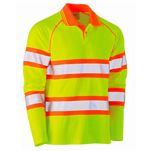 BISLEY DOUBLE TAPED HI VIS MESH L/S POLO YELLOW/ORANGE