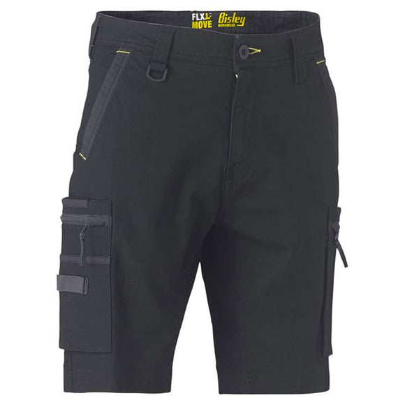 BISLEY FLEX & MOVE STRETCH UTILITY ZIP CARGO SHORTS BLACK