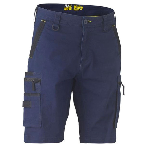 BISLEY FLEX & MOVE STRETCH UTILITY ZIP CARGO SHORTS NAVY