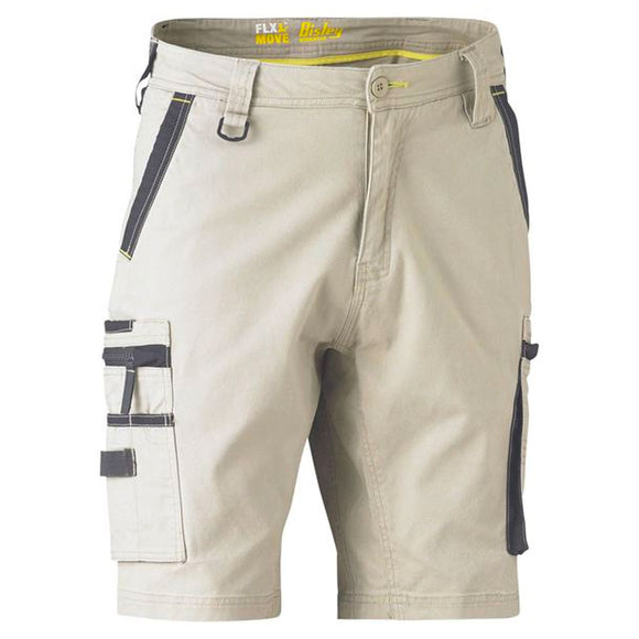 BISLEY FLEX & MOVE STRETCH UTILITY ZIP CARGO SHORTS STONE