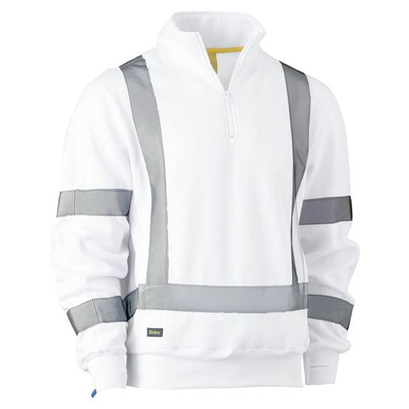 BISLEY X TAPED 1/4 ZIP PULLOVER WHITE
