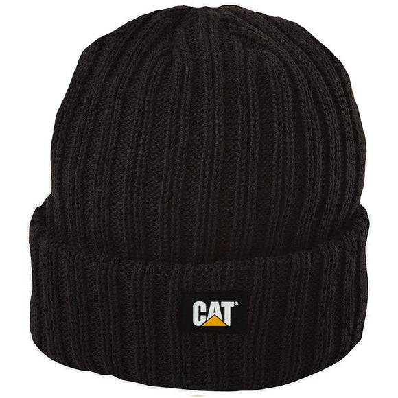 CAT RIB WATCH BEANIE - BLACK