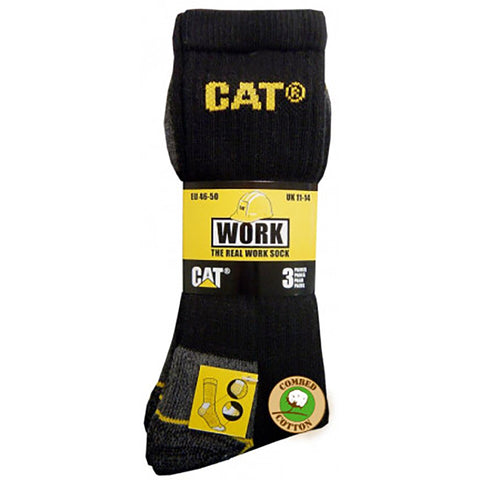 CAT CREW SOCK 3 PACK BLACK/YELLOW