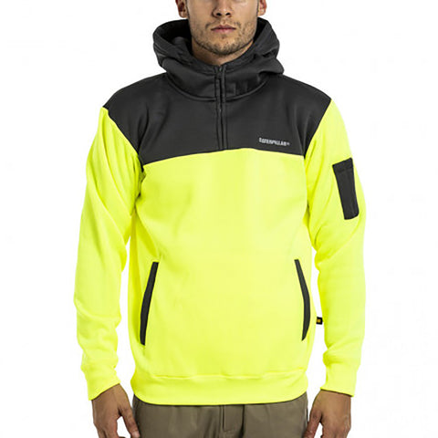 CAT HI VIS HOODIE YELLOW/GREY