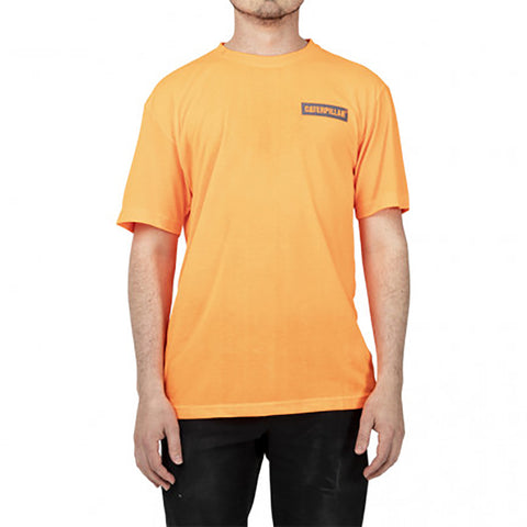 CAT ICON BLOCK SS TEE HI VIS ORANGE