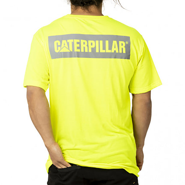 CAT ICON BLOCK SS TEE HI VIS YELLOW