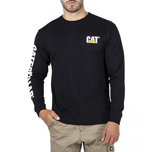 CAT TRADEMARK BANNER LS TEE BLACK