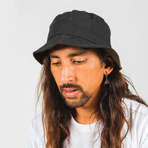 DICKIES STAMFORD REVERSABLE BUCKET HAT BLACK/KHAKI