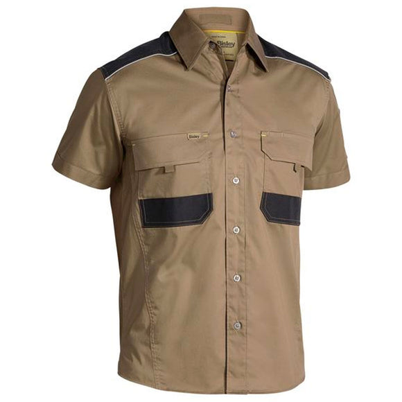 BISLEY FLEX AND MOVE MECHANICAL STRETCH S/S SHIRT KHAKI