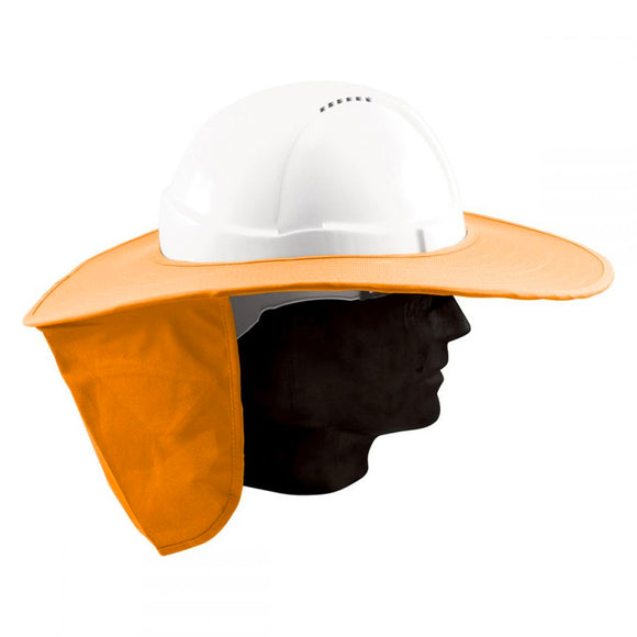 HARD HAT BRIM W/FLAP - NEON ORANGE