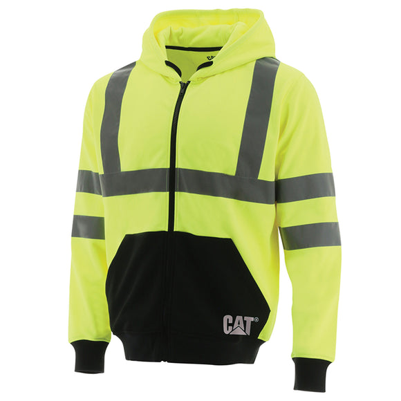 CAT HI VIS ZIP -UP HOODIE - YELLOW