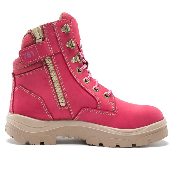 STEEL BLUE SOUTHERN CROSS ZIP LADIES BOOTS PINK