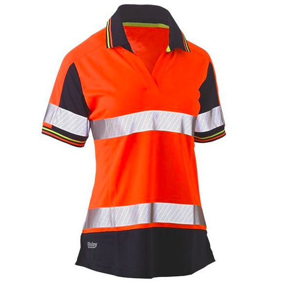 BISLEY WOMENS 3M TAPED HI VIS S/S POLO ORANGE/NAVY